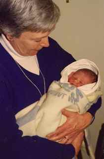 Grandmother with newborn